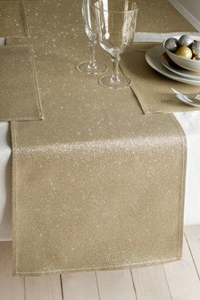 Set of 4 Gold Glitter Runner And Placemats