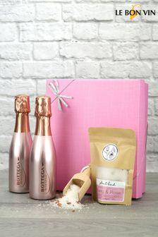 Sparkling Rose Gold Bath Night Gift Set by Le Bon Vin