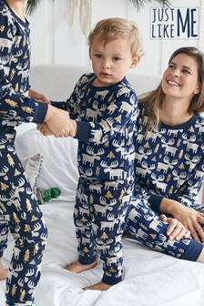 Navy Matching Family Baby Christmas Moose Sleepsuit (0mths-2yrs)