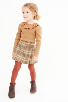 Camel Frill Neck Knitted Top (3mths-7yrs)