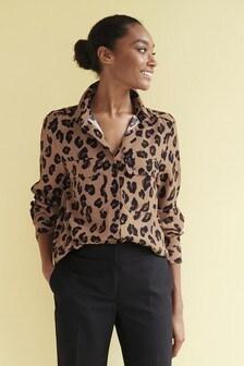 Tan Animal Utility Pocket Shirt