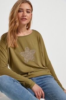 Khaki Embellished Star Dolman Long Sleeve Top