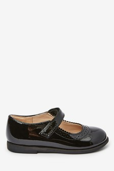 Black Leather Mary Jane Shoes (Younger)