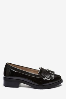 Black Extra Wide Fit Cleated Fringe Loafers