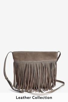 Grey Suede Fringe Detail Across-Body Bag