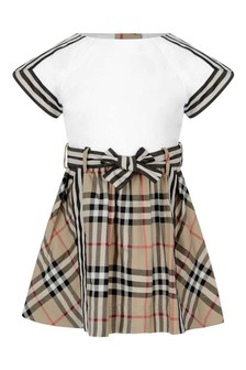 White Baby Girls White And Vintage Check Cotton Dress