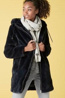 Navy Hooded Faux Fur Jacket