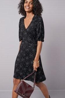 Black Spot Crepe Wrap Dress