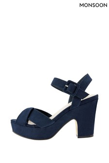 Monsoon Navy Polly Platform Occasion Sandals