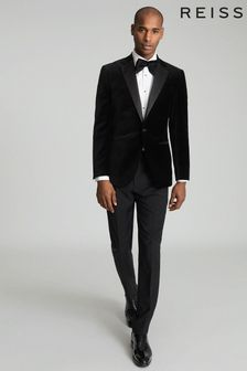 Reiss Black Ace Velvet Blazer