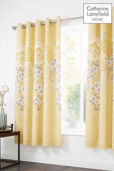 Oriental Floral Blossom Lined Eyelet Curtains by Catherine Lansfield