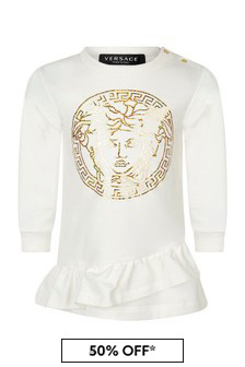 Baby Girls Ivory Cotton Logo Dress