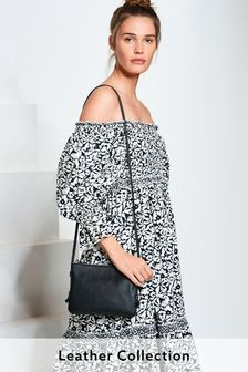 Black Leather Across-Body Bag