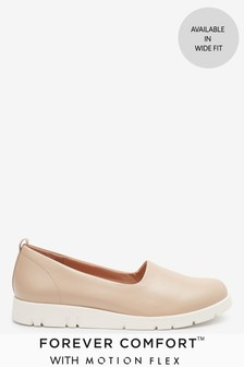 Nude Leather Motion Flex Slip-On Shoes
