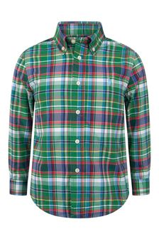 Boys Green & Navy Check Shirt