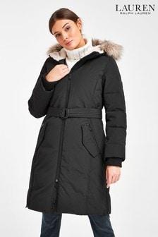 Lauren Ralph Lauren® Black Waterproof Belted Midi Coat