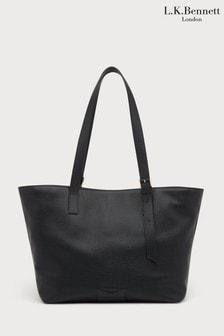 L.K.Bennett Black Leyla Leather Buckle Tote Bag
