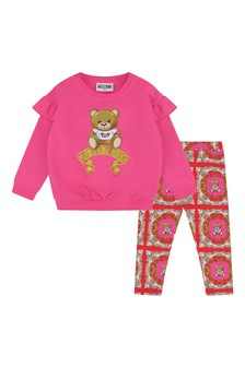 Baby Girls Fuchsia Cotton Sweater & Leggings Set