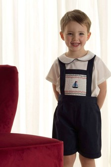 Rachel Riley Navy Sailboat Smocked Dungarees
