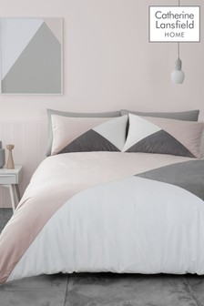 Catherine Lansfield Melina Colourblock Geo Duvet Cover and Pillowcase Set