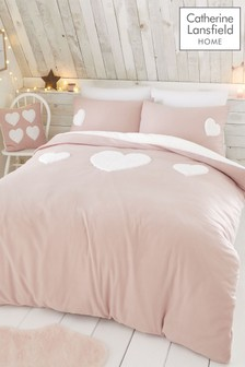 Catherine Lansfield So Soft Cosy Fleece Heart Duvet Cover and Pillowcase Set