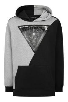Boys Grey/Black Cotton Hooded Sweater