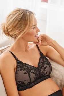 Black Daisy Lightly Padded Wire Free Lace Maternity Bra