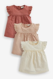 Rust 3 Pack Broderie Frill T-Shirts (0mths-3yrs)