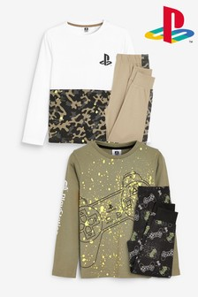 Khaki/Fluro 2 Pack PlayStation™ Pyjamas (3-16yrs)