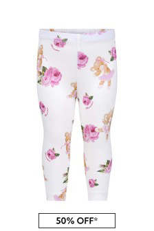 Baby Girls White Cotton Teddy And Rose Leggings