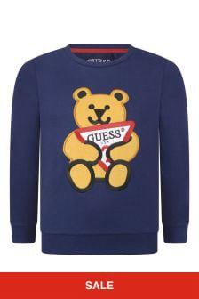 Boys Navy Cotton Bear Sweater