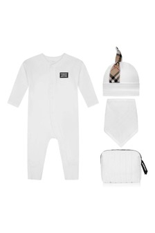 Baby White And Check Cotton Romper Set