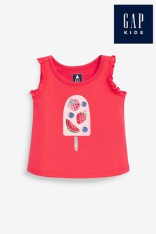 Gap Ice Lolly Graphic Ruffle Sleeveless T-Shirt