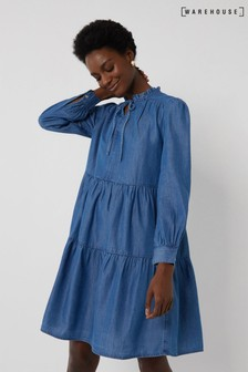 Warehouse Tiered Swing Dress