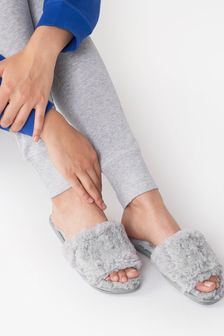 Grey Faux Fur Slider Slippers