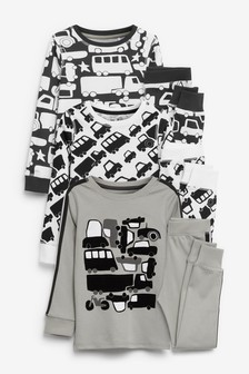 Monochrome 3 Pack Transport Snuggle Pyjamas (9mths-12yrs)