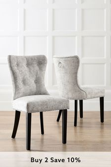 Distressed Velour Silver Set of 2 Blair Dining Chairs With Black Legs