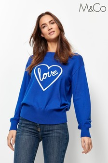 M&Co Blue Love Slogan Jumper