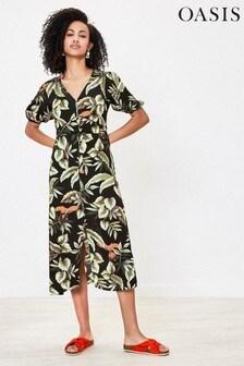 Oasis Natural Puff Sleeve Shirt Dress