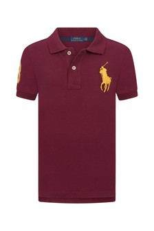 Boys Burgundy Cotton Polo Top