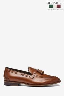 Tan Signature Italian Leather Tassel Loafers