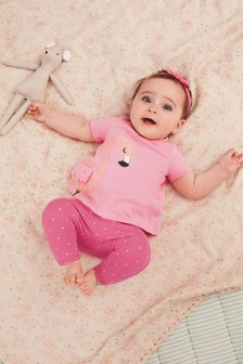 Pink Flamingo T-Shirt, Leggings And Headband Set (0mths-2yrs)