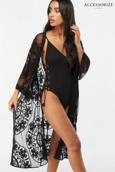 Accessorize Black Jaki Long Kimono Top