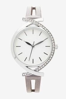 Silver Tone Split Strap Watch