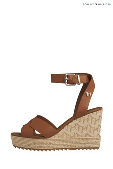 Tommy Hilfiger Brown TH Cube Raffia High Wedges