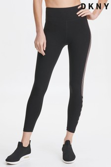 DKNY Black Highwaist Coral Logo Leggings