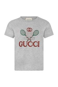Baby Boys Grey Cotton Tennis T-Shirt