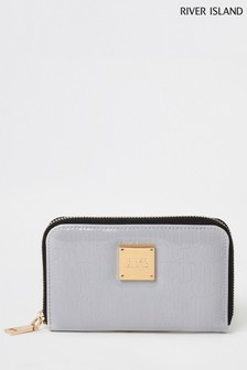 River Island Grey Embossed Mini Zip Bag