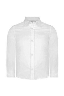 Boys White Cotton Regular Fit Shirt