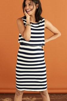 Navy/White Stripe Maternity Nursing Mini Dress